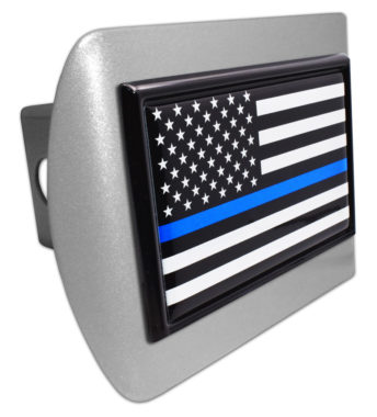 Police Flag Black on Brushed Hitch Cover