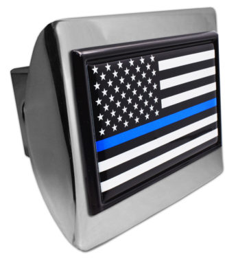 Police Flag USA Chrome Hitch Cover