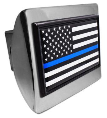Police Flag Black on Chrome Hitch Cover