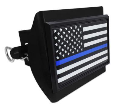 Police Flag Black on Black Plastic Hitch Cover