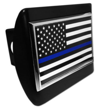 Police Flag on Black Hitch Cover
