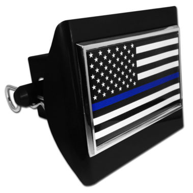 Police Flag Emblem on Black Plastic Hitch Cover image