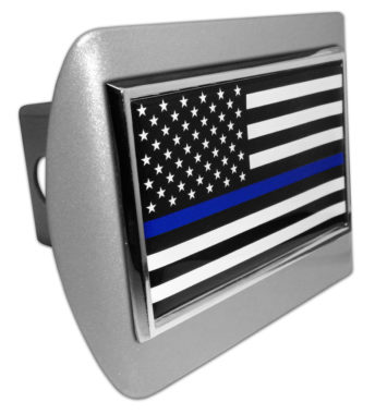 Police Flag on Brushed Hitch Cover