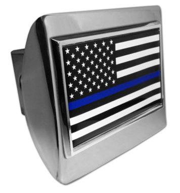 Police Flag on Chrome Hitch Cover
