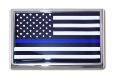 Large Police Flag Chrome Emblem