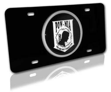 POW/MIA Emblem on Black License Plate image