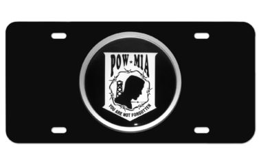 POW/MIA Emblem on Black License Plate image