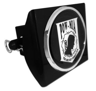 POW / MIA Emblem on Black Plastic Hitch Cover