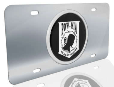 POW/MIA Emblem on Stainless Steel License Plate