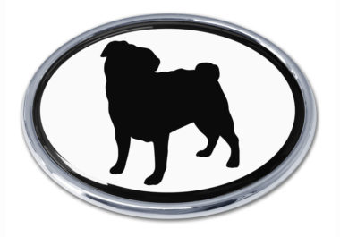 Pug White Chrome Emblem