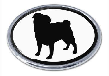 Pug White Chrome Emblem