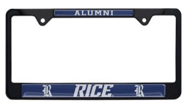 Rice University Alumni Black License Plate Frame