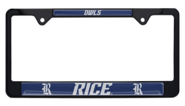 Rice University Owls Black License Plate Frame
