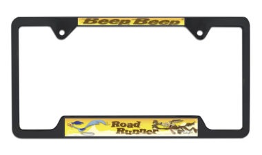 Road Runner Open Black License Plate Frame