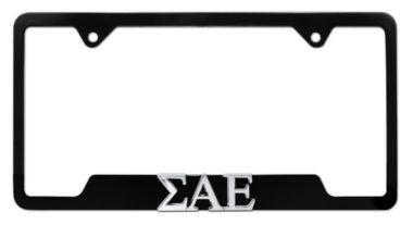 Sigma Alpha Epsilon Black Open License Plate Frame
