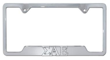 Sigma Alpha Epsilon Chrome Open License Plate Frame