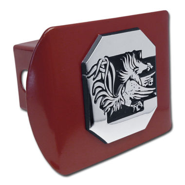 South Carolina University Gamecock Emblem on Garnet Hitch Cover