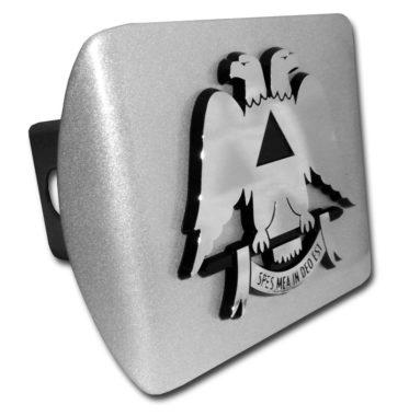 Scottish Rite Emblem on Brushed Hitch Cover