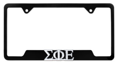 Sigma Phi Epsilon Fraternity Black Open License Plate Frame