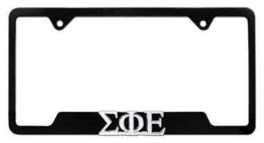 Sigma Phi Epsilon Fraternity Black Open License Plate Frame
