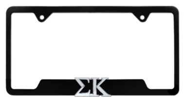Sigma Kappa Sorority Black Open License Plate Frame