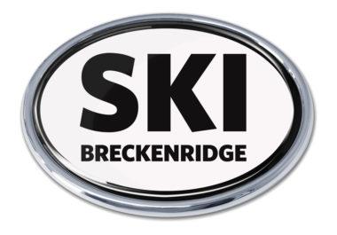 Ski Breckenridge White Chrome Emblem