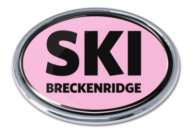 Ski Breckenridge Pink Chrome Emblem