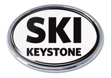 Ski Keystone White Chrome Emblem