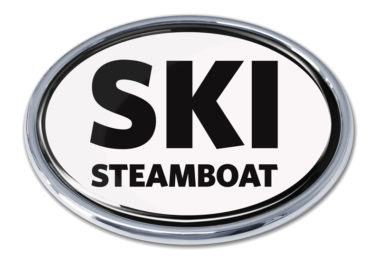 Ski Steamboat Springs White Chrome Emblem
