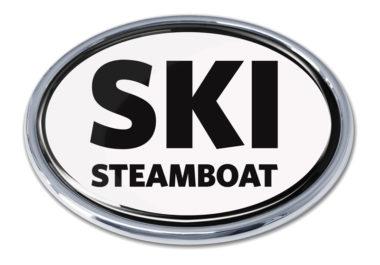 Ski Steamboat Springs White Chrome Emblem