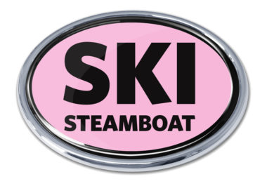 Ski Steamboat Springs Pink Chrome Emblem