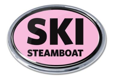 Ski Steamboat Springs Pink Chrome Emblem image