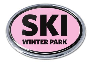 Ski Winter Park Pink Chrome Emblem