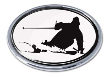 Skiing White Chrome Emblem