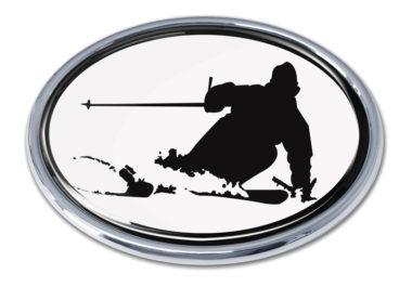 Skiing White Chrome Emblem