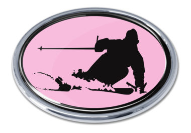 Skiing Pink Chrome Emblem