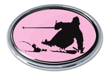 Skiing Pink Chrome Emblem