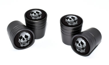 Skull Valve Stem Caps - Black Chrome image