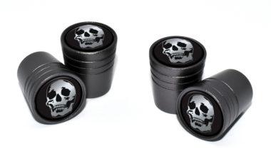 Skull Valve Stem Caps - Black Chrome