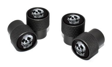 Skull Valve Stem Caps - Black Knurling