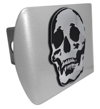 Skull Brushed Chrome Hitch Cover