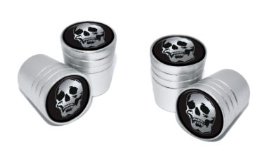 Skull Valve Stem Caps - Matte Chrome image