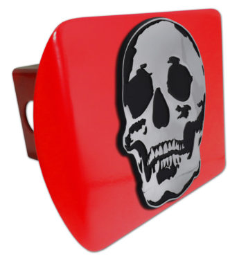 Skull Red Metal Hitch Cover