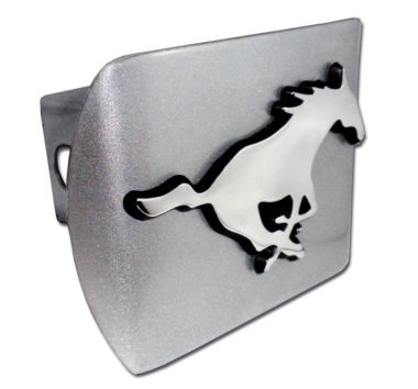 SMU Emblem on Brushed Chrome Hitch Cover