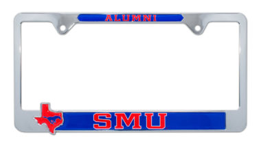 "Southern Methodist ""Alumni"" License Plate Frame w/ 3D Texas Shape"