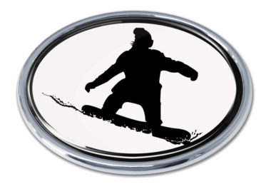 Snowboarding White Chrome Emblem