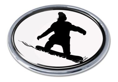 Snowboarding White Chrome Emblem