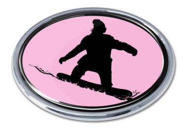 Snowboarding Pink Chrome Emblem