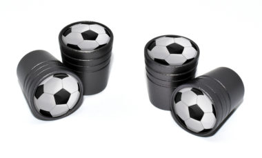 Soccer Ball Valve Stem Caps - Black image