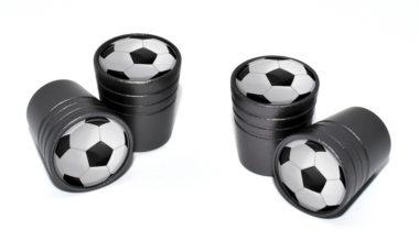 Soccer Ball Valve Stem Caps - Black